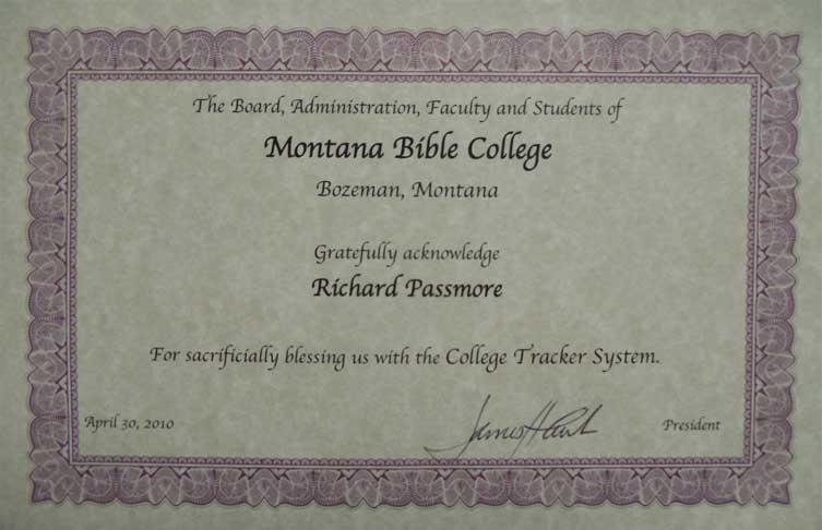 Certificate from MBC acknowledging the importance of CollegeTracker to their college.